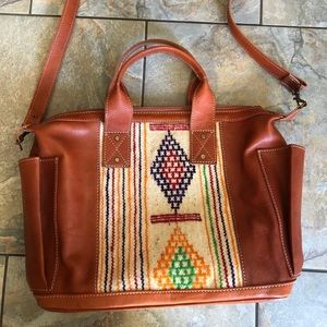 Moroccan inspired leather day bag/backpack